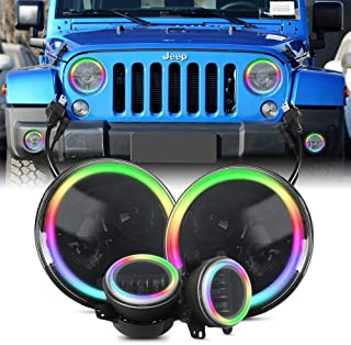 LED DRL headlights Falconstar 2 x 7 inch round RGB headlights flashing halo + 2 x 4 inch RGB fog light remote control/Bluetooth control, 2007-2018 Jeep Wrangler JK JKU, 4 Pacs