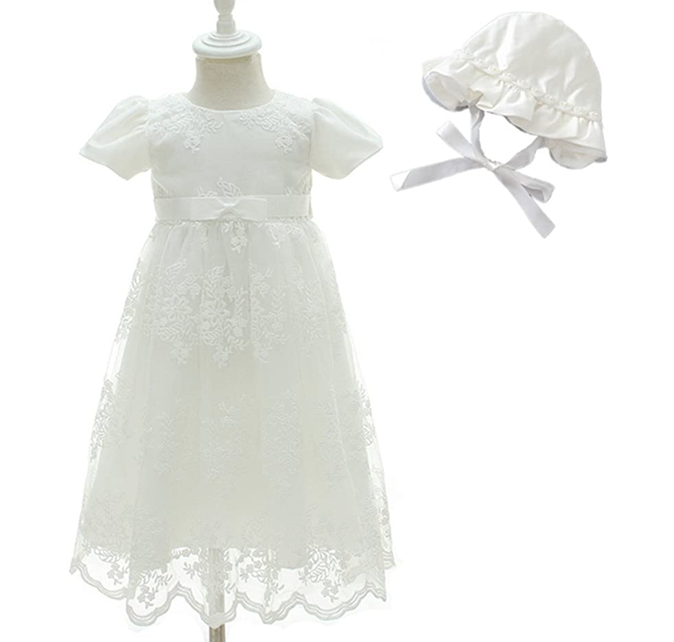 H.X Infant Christening Baptism Gown Baby Girls Princess Wedding Party Long Dress (12M/12-15Months, Ivory)