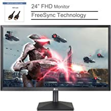 """LG 24"""" IPS LED FHD Antiglare Monitor, FreeSync Technology, 1920 x 1080 Resolution, 75Hz Refresh Rate, 1000:1 Contrast Ratio, 5 ms Response Time, HDMI & VGA Ports, Black, BROAGE HDMI Cable 3ft"""