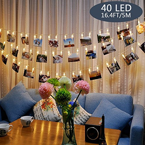 Tomshine 40 LEDs String Lights 16.4ft LED Photo Clip String Lights, Battery Powered for Living Room Bedroom Party, 3 AA...