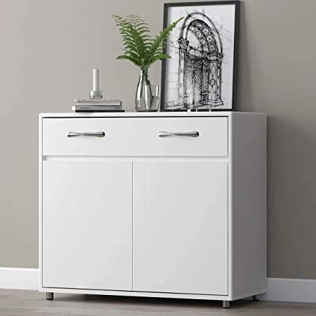 Amazon Com Rasoo Buffet Cabinet Kitchen Cabinet Storage Sideboard Cabinet Cupboard Sideboard Buffet Kitchen Room White 2 Doors And 1 Drawer Buffets Sideboards
