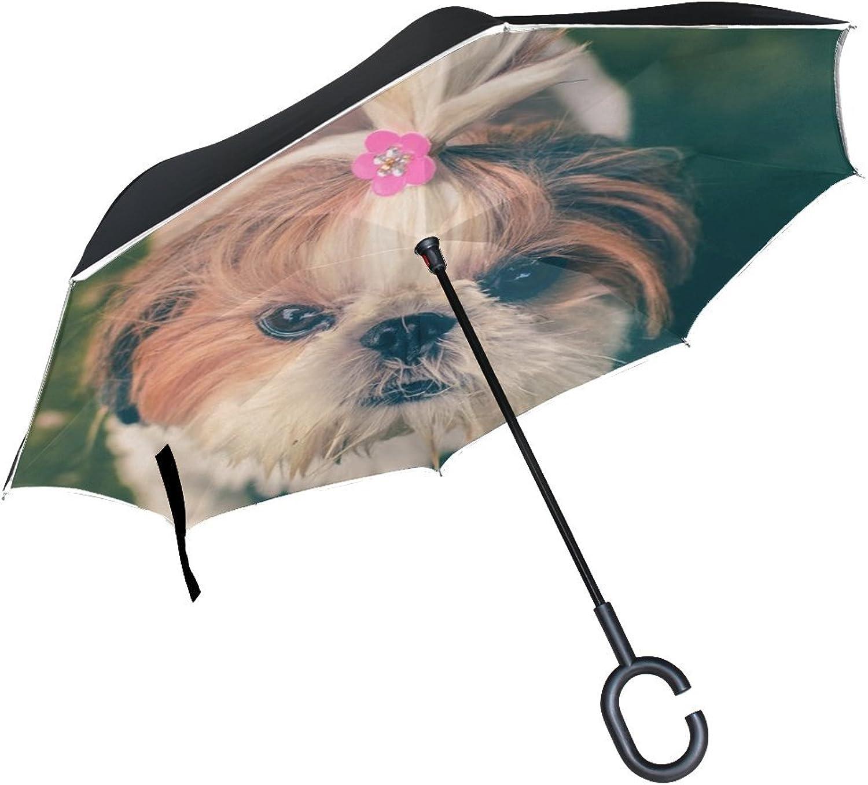 Animal Dog Yorkshire Terrier Cute Pet Yellow Fluffy Small Puppy Ingreened Umbrella Large Double Layer Outdoor Rain Sun Car Reversible Umbrella