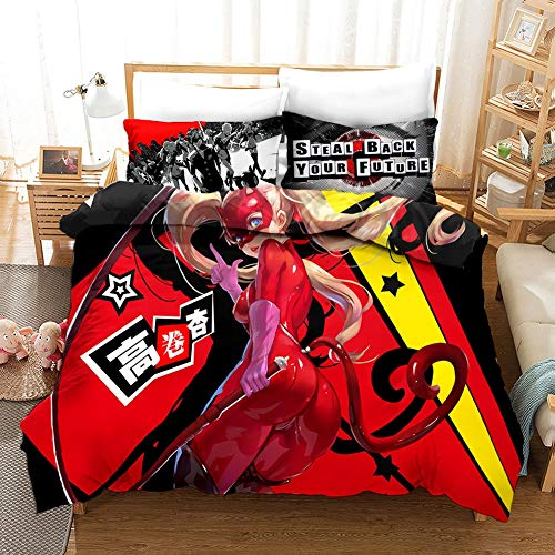 Fvfvfv Persona Series:Ann Takamaki,3D Bedding Three-Piece Set (1 Bed Cover 2 Pillow Cover),Best Gifts for Game Fans,100% Polyester, Soft and Comfortable (Size : US Queen(228228CM))