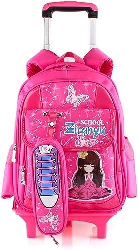 Lounayy Schultasche Trolley Kinderrucksack Mit Jungen Schulrucksack M er Dchen Kinder Mode (Farbe   Rot, Größe   One Größe)