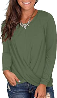 Jedyful Women's Casual Long Sleeve Round Neck Twist Front Blouse Shirt Loose Tunic Tops