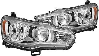 VIPMOTOZ Chrome Housing OE-Style Headlight Headlamp Assembly For 2008-2017 Mitsubishi Lancer Ralliart Evolution EVO X Halogen Model, Driver & Passenger Side