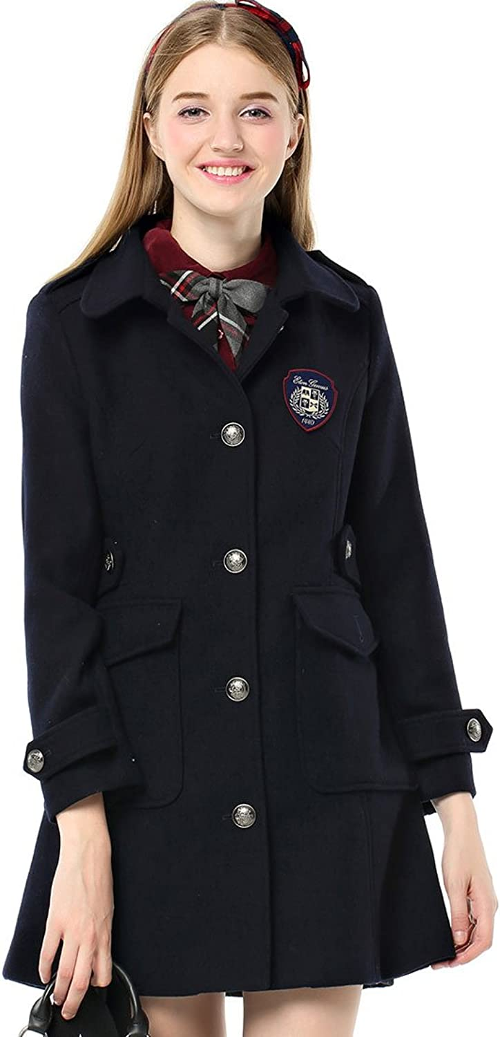 Etongenius Singlebreasted Navy bluee Long Lapel Wool Blend Jacket Winter Warm Trench Coat Outerwear for Girl and Women