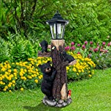 Oritty Bear Statue Welcome Sign Garden Statue with Solar Lights, Resin Bear Family on The Tree, Outdoor Bear Décor for Yard, Garden, Lawn, Patio, Black and Brown Animal Statue