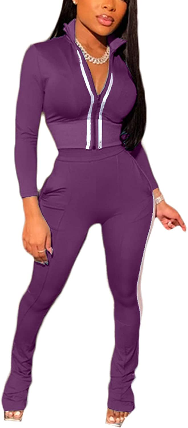 Women's 2 Piece Outfits Sweatsuit - Sexy Skinny Track Fla Wholesale Jacket Outlet sale feature