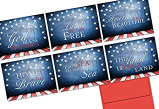 Patriotic Greeting Cards 36 Pack Assortment – Patriotic Phrases – 6 Unique American Designs – RED ENVELOPES INCLUDED – Glossy Cover Blank Inside – By Note Card Café