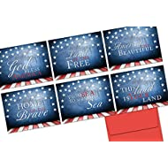 Note Card Cafe Patriotic Greeting Cards with Envelopes (Pack of 36) Unique Patriotic Phrases Design | Red Envelopes Included | Blank Note Card, Glossy Cover