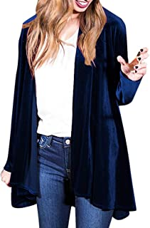 Regular Frill Cardigan Women Solid Long Sleeve Peplum Velvet Coat Jacket