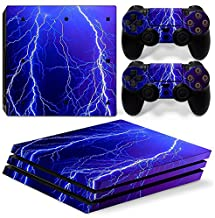Mcbazel Pattern Series Vinyl Skin Sticker For PS4 Pro Controller & Console Protect Cover Decal Skin (Blue Thunder)