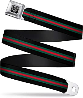 "Buckle-Down Unisex-Adult's Seatbelt Belt Stripes XL, Black/Green/red, 1.5"" Wide-32-52 Inches"
