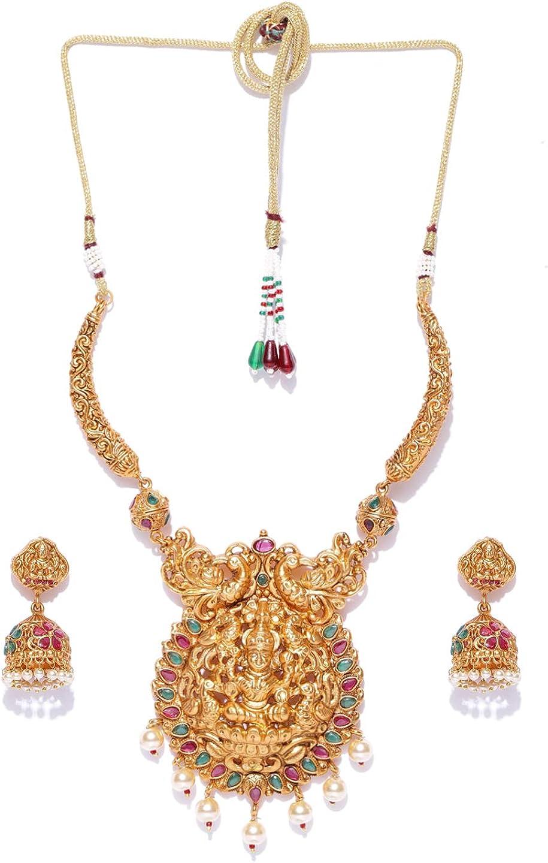 Vishal-Vatika Latest Party Wear Temple Jewelry Gold-Toned Crystal Stone Polki Necklace Pendants Set