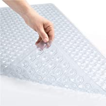 Gorilla Grip Patented Bath Tub and Shower Mat, 35x16, Machine Washable, Extra Large Bathtub Mats with Drain Holes and Suction Cups to Keep Floor Clean, Soft on Feet, Bathroom Accessories, Clear