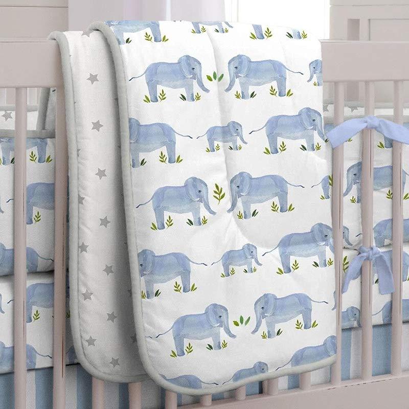 Carousel Designs Blue Painted Elephants Crib Comforter