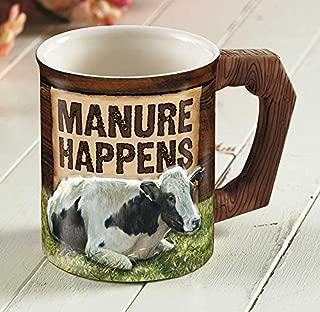 Manure Happens - Cow Sculpted Mug by Rollie Brandt