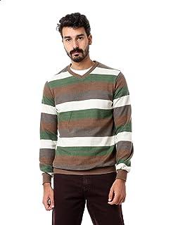 Andora Striped Ribbed Trim V-Neck Long Sleeves Pullover for Men