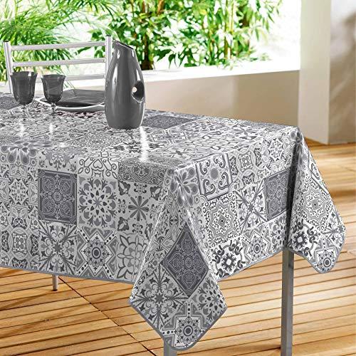 Décor Line, persiana, tovaglia rettangolare in polivinilcloruro , PVC, grigio, 140 x 240 cm