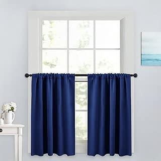 PONY DANCE Kitchen Curtain Valances - Home Decor Rod Pocket Thermal Insulated Window Treatments Light Block Panels for Bathroom, 42 W x 36 L, Purplish Blue, Set of 2