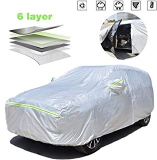 AOYMEI Full Car Cover Waterproof All Weather, Automobile Cover Sunproof Rainproof Windproof Scratch Resistant Reflective Strips Cotton Inside (SUV, fit Length (175''-181''))