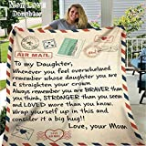 Fleece Blanket to My Daughter Letter Printed Quilts Dad Mom for Daughter's Air Mail Blanket Positive Encourage and Love Daughter's Flannel Blanket Gifts (5060in-mom)