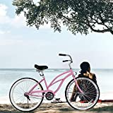 Popsport Beach Cruiser 24' Bicycle Women's Cruiser Bike Lady Beach Cruiser Bicycle Pink Ladies Bike Single Speed