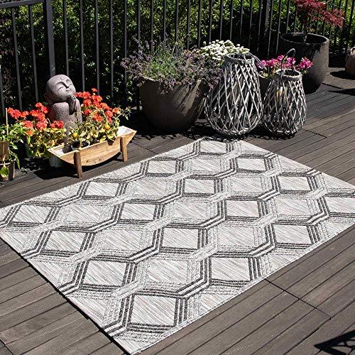 mynes Home Outdoor Teppiche In- & Outdoorteppich Flachgewebe Terrasse Garten Balkon geeigneter Teppich in Schwarz mit 3D Geometrie Struktur Wetterfest Farbecht Lichtecht, Größe: 160 cm x 230 cm