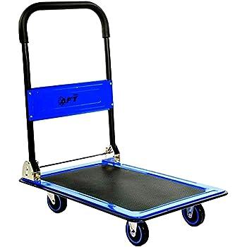Push Cart Dolly AFT PRO USA Push Platform Truck Folding Rolling Flatbed Cart 360 Degree Swivel Wheels Foldable Handle (Blue, 660LB)