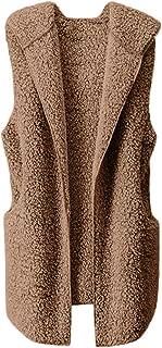 Chaleco para Mujer Calentar Abrigo con Capucha de Abrigo de Invierno Abrigo Informal Chaqueta de Abrigo Chaleco sin Mangas...