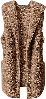 ❤Women Fashion Luxury Fluffy Shaggy Vest Acrylic Hooded Coat Jacket with Pockets Autumn Casual Outwear