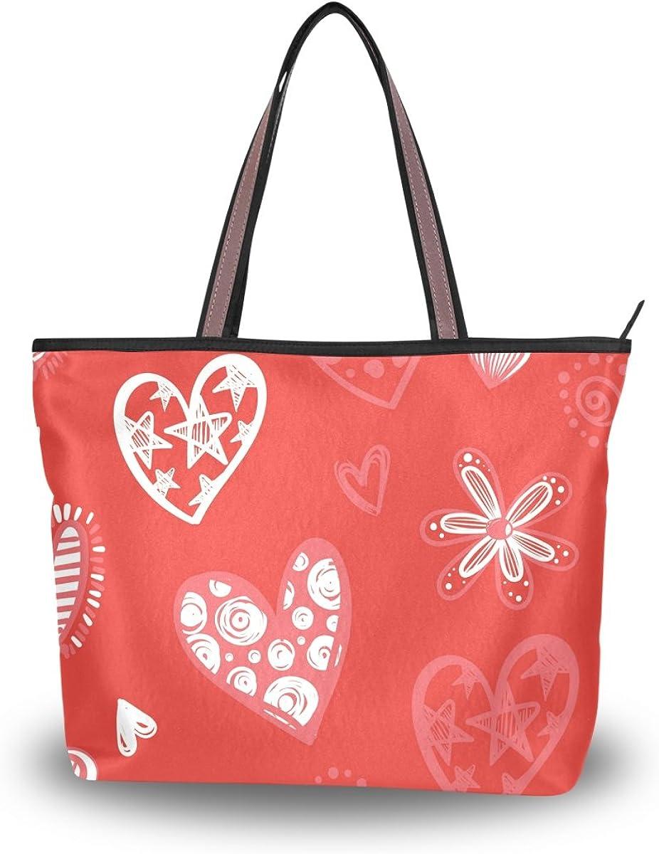 JSTEL Women Large Tote Top Handle Shoulder Bags Red Hearts Flowers Patern Ladies Handbag