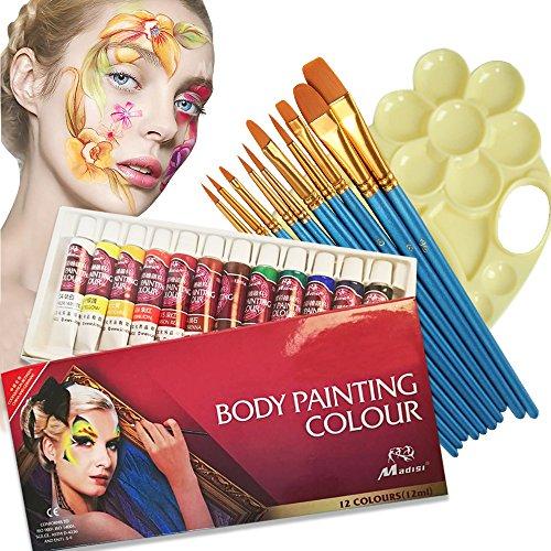 VVLife 12 Colores de la Pintura de la Cara de Tubos, no toxico & hipoalergenico Body Paint Maquillaje de Halloween, Vienen con Piezas de Nylon Cepillo de Pelo de Punta Redonda y Paleta
