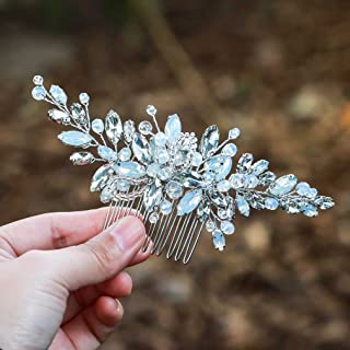 comprar comparacion Peinetas para el pelo de novia de plata con diamantes de imitación para novia y accesorio para la cabeza para mujer