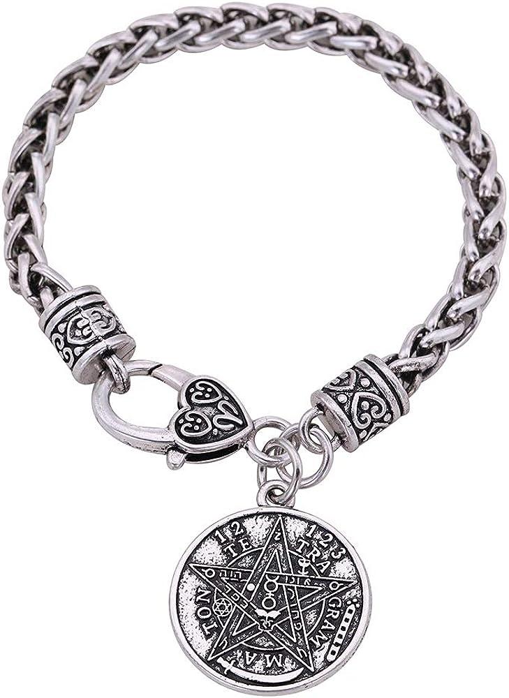 Cooltime - pulsera con amuleto colgante, estrella pentagrámaton, para Halloween, para hombres y mujeres