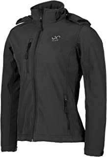 Soft Shell Jackets for Men, Windproof Water-Resistant Outdoor Soft Shell Army Jacket, Long Sleeves Hooded Breathable Windproof Jacket Running, Black