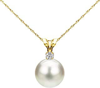 14k Gold Single 7-7.5mm White Cultured Freshwater Pearl and Diamond Pendant Necklace (G-H, SI1-SI2) - Choice of Gold Color