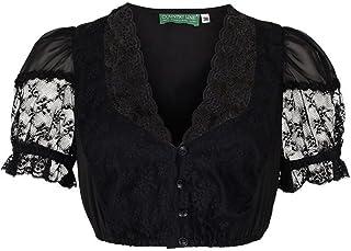 Country-Line Damen Dirndlbluse V-Ausschnitt mit Spitze schwarz, Schwarz, 32