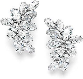 Mariell Cubic Zirconia Cluster Bridal & Wedding Earrings, Earring for Bride, Silver CZ Earring for Women