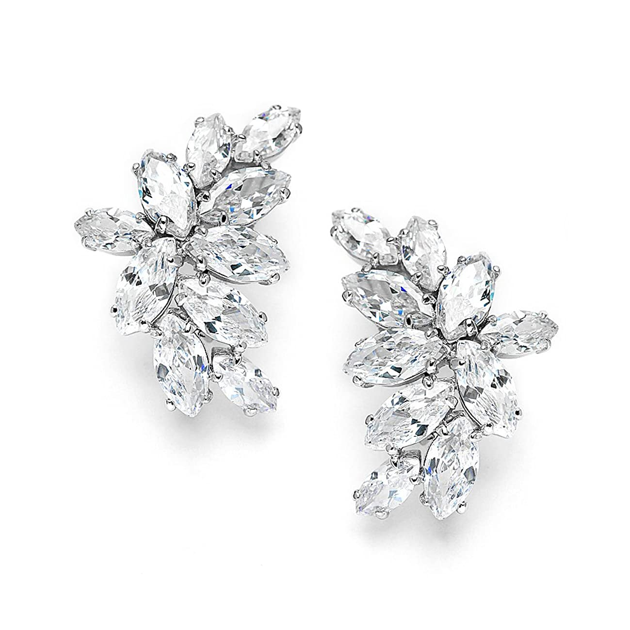 Mariell Cubic Zirconia Marquis-Cut Graceful Curved Cluster Bridal Wedding Earrings - Platinum Plated