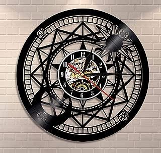 wffang Jupiter Wall Clock Vinyl Home Decor Sun and Moon Retro Star Vinyl Record Clock Cosmographical Clock Astrology Gifts