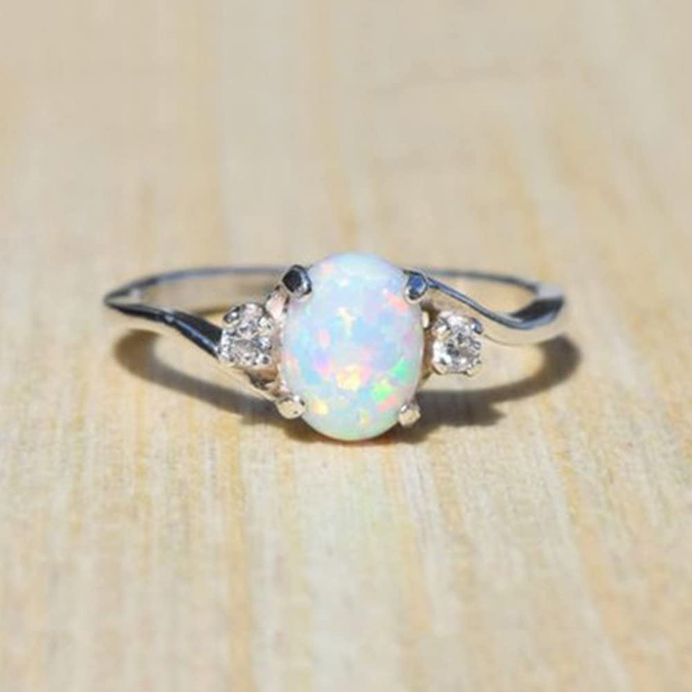 Dosoop Rings,Exquisite Womens Silver Ring Oval Cut Fire Opal Diamond Band Rings Jewelry Anniversary Souvenir Birthday Gift