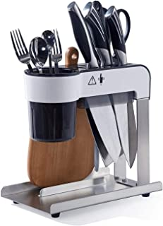 Mumoo Bear Knife Block Holder with Slots for Honing Rod and Kitchen Scissors, Black Knife Stand with Utensil and Cutting B...