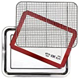 Stainless Steel Sheet Pan 15.5 x 11.5 inch Cooling Rack & Silicone Baking Mat Set - Extra Durable...