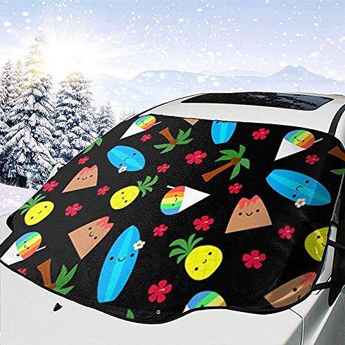 JONINOT Cubierta de Parabrisas Tabla de Surf Tropical Parabrisas de piña Cubierta de Nieve Nieve Hielo Frost Protección Completa UV Apto para la mayoría de vehículos SUV CRV Van