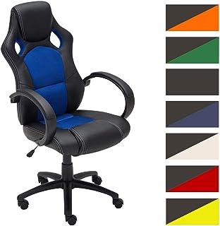 Silla Racing De Oficina Fire Estilo Deportivo I Silla Gaming Regulable En Altura & Giratoria I Silla Gamer con Ruedas Deslizantes I Color:, Color:Azul