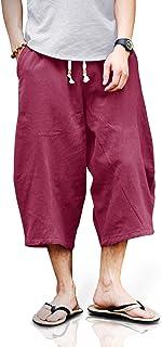 TOTNMC Men's Baggy Linen Capri Pants Casual Yoga Patchowork Beach Pants with Drawstring