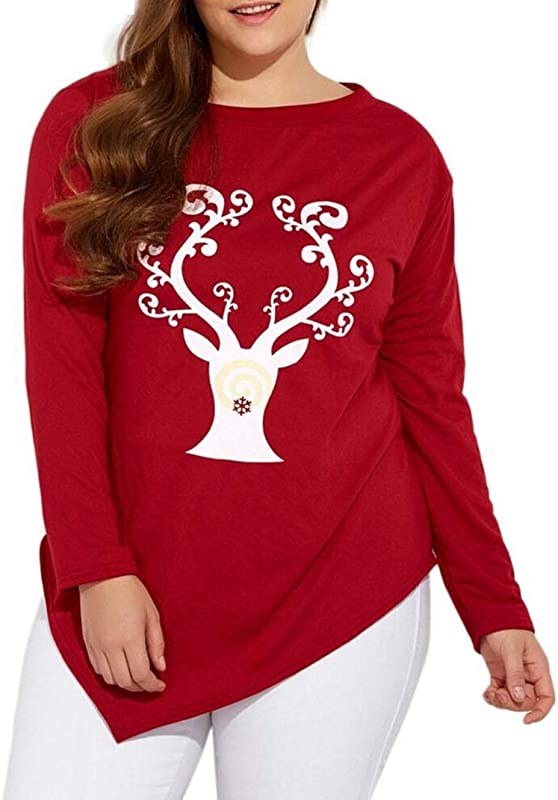 Dacawin Winter Women Casual Loose Plus Size O Neck Christmas Deer Elk Print T Shirt Blouse