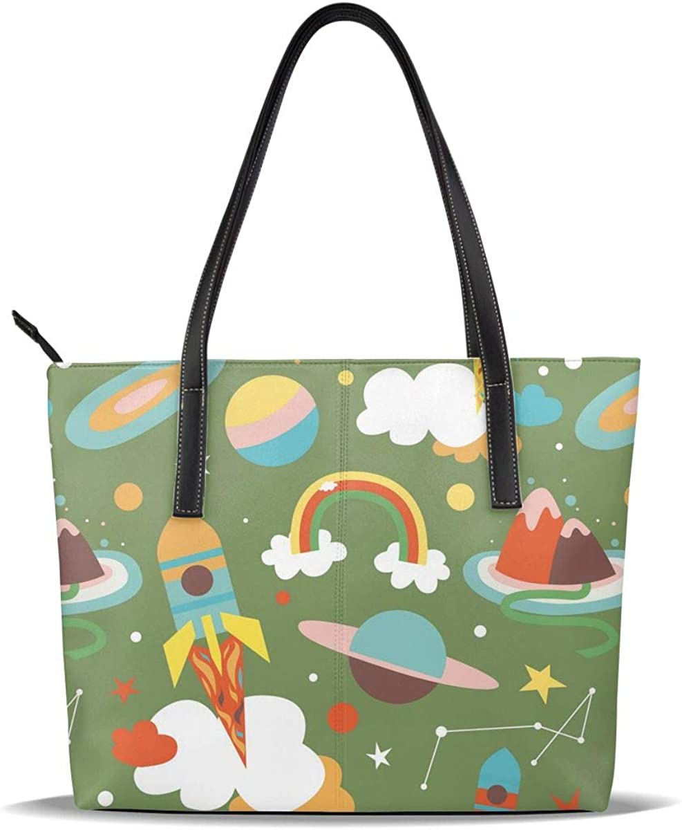 Astronaut Green Opening large release sale Rainbow Ufo PU Leather Casual Printed Ha Inexpensive Pattern